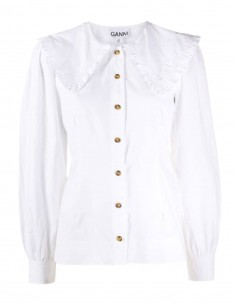 White GANNI choral collar shirt with gathers for women - FW21