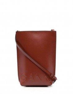 GANNI brown mini crossbody bag with magnetic closure for women - FW21