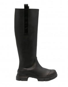 GANNI black double tongue rubber boots for women - FW21