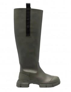 GANNI khaki double tongue rubber boots for women - FW21