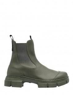 Boots GANNI en caoutchouc kaki à double languettes pour femme - FW21