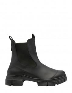 Boots GANNI en caoutchouc noir à double languettes pour femme - FW21