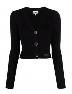 Cardigan col V GANNI en maille côtelée noire avec logo pour femme - FW21