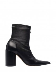 Black MM6 pointed boots with round heels and front zip for women - FW21