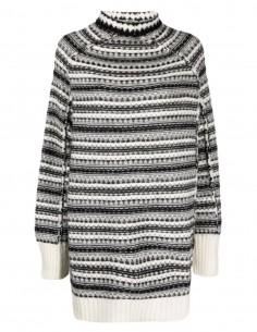 Pull MM6 oversize façon poncho noir et blanc pour femme - FW21