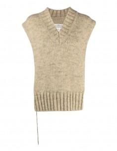 MAISON MARGIELA beige V-neck sweater open on sides for women - FW21