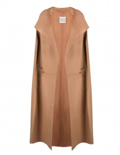 TOTÊME maxi cut cape in beige wool for women - FW21