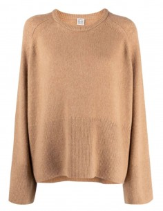 Beige TOTEME pullover with wide ribbed edges and round neck for women - FW21