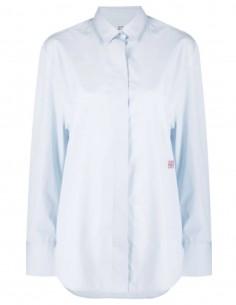 Chemise bleu TOTÊME dos plissé avec logo rouge pour femme - FW21