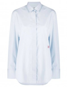 TOTEME blue shirt with pleated back and red logo for women - FW21