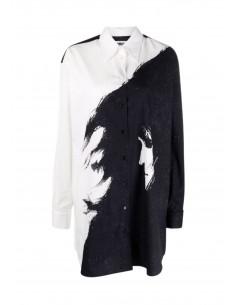 Robe chemise MM6 bicolore noire et blanche imprimé visage FW21