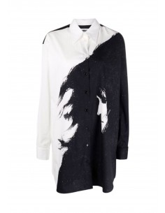 Two-tone black and white MM6 shirt dress, with a printed face on front FW21
