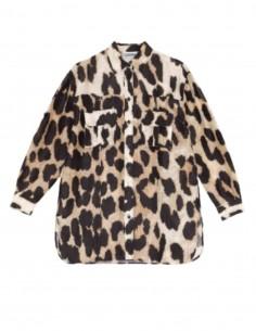 Chemise GANNI léopard en lin et soie pour femme - SS20