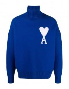 "Pull AMI PARIS bleu logo ""Ami de cœur"" col montant mixte - FW21"