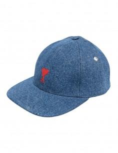 "AMI PARIS cap with ""Ami de coeur"" logo in blue denim for men - FW21"