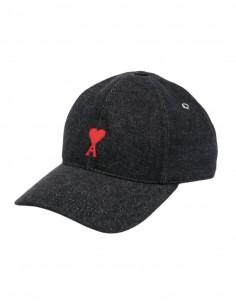 "AMI PARIS cap with ""Ami de coeur"" logo in black denim for men - FW21"