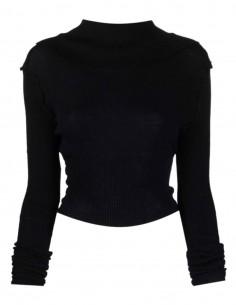 Pull court MAISON MARGIELA réversible côtelé noir pour femme - FW21