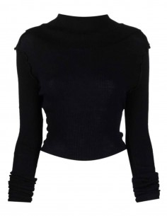 Black MAISON MARGIELA reversible ribbed cropped pullover for women - FW21