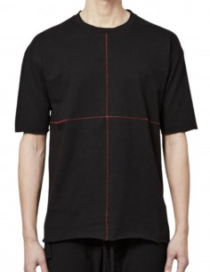 Black THOM KROM t-shirt with red stitching for men - FW21