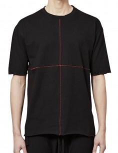 T-shirt THOM KROM noir surpiqûres rouges pour homme - FW21