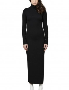 Black long THOM KROM ribbed dress with high collar for women - FW21