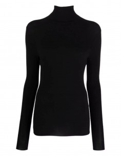 """Thom Krom """"W Ts 431"""" black tee shirt with high collar for women - FW21"""
