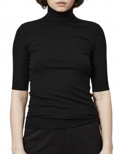 Black Thom Krom short-sleeved tee shirt with high neck for women - FW21
