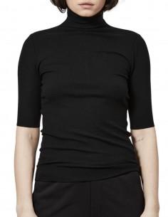 T-shirt THOM KROM manches courtes noir col montant pour femme - FW21