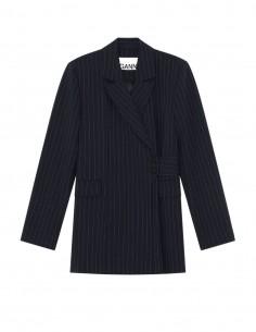 Veste blazer GANNI navy à rayures et ceinture pour femme - FW21