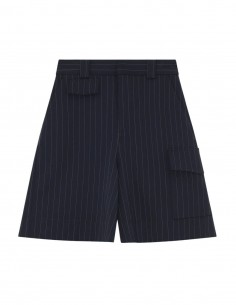 Ganni navy stripped shorts with flap pocket for women - FW21