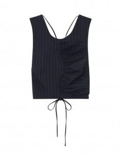 Crop top navy GANNI à rayures et dos nu lacets pour femme - FW21