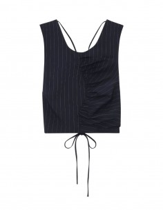 Ganni navy striped crop top with open back for women - FW21