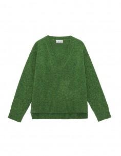 Pull GANNI en laine chinée verte avec logo brodé pour femme - FW21