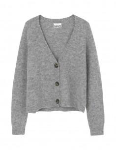 Ganni 3-button grey cardigan in wool for women - FW21