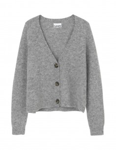Cardigan GANNI 3 boutons en laine grise pour femme - FW21