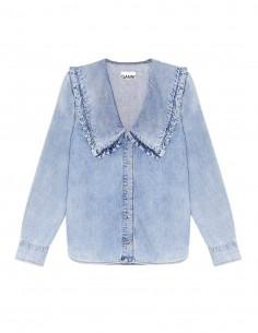 Chemise GANNI en jean bleu avec col claudine pour femme - FW21