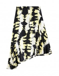 Ganni yellow and black marbled printed silk skirt for women - FW21