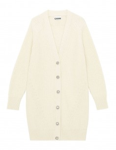 Ganni ribbed long ecru cardigan with jeweled buttons for women - FW21
