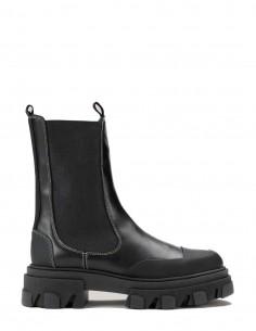 """Boots GANNI """"Chelsea"""" noires avec surpiqûres vertes pour femme - FW21"""