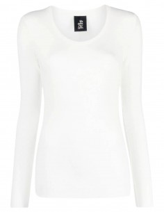 White ribbed THOM KROM t-shirt with long sleeves for women FW21