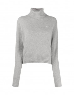 Grey jumper AMI PARIS with high collar in cashmere for women FW21.
