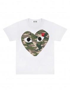 T-shirt CDG PLAY blanc avec coeur camouflage