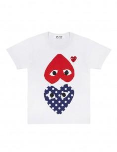 T-shirt blanc CDG PLAY avec deux coeurs rouge et pois