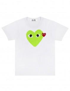 T-shirt blanc avec coeur néon vert cdg play