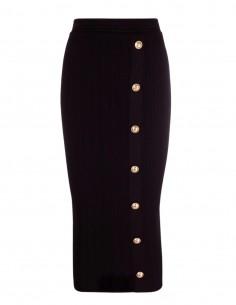 Longue jupe-crayon  Balmain noire côtelée  pour femme - FW21