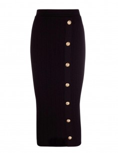 Balmain Long black ribbed pencil skirt for women - FW21