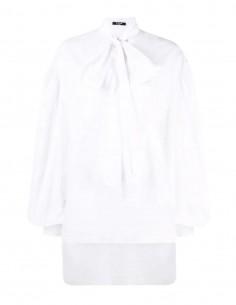 White Balmain ascot collar blouse for women - FW21