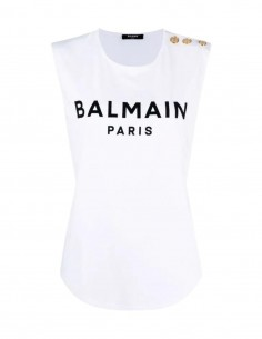 White Balmain vest top with golden buttons for women - FW21