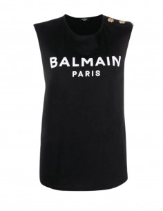 Black Balmain vest top with golden buttons for women - FW21