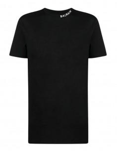T-shirt noir Balmain logo blanc pour homme - FW21